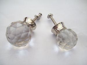 GLASS CRYSTAL FACETED CHROME CUPBOARD CABINET DRAWER DOOR KNOBS PULL HANDLES
